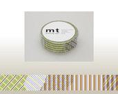 Washi Tape - Stripe-checked Green