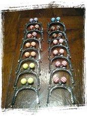 Chiusure clic clac con palline a righe per borsellino/portamonete