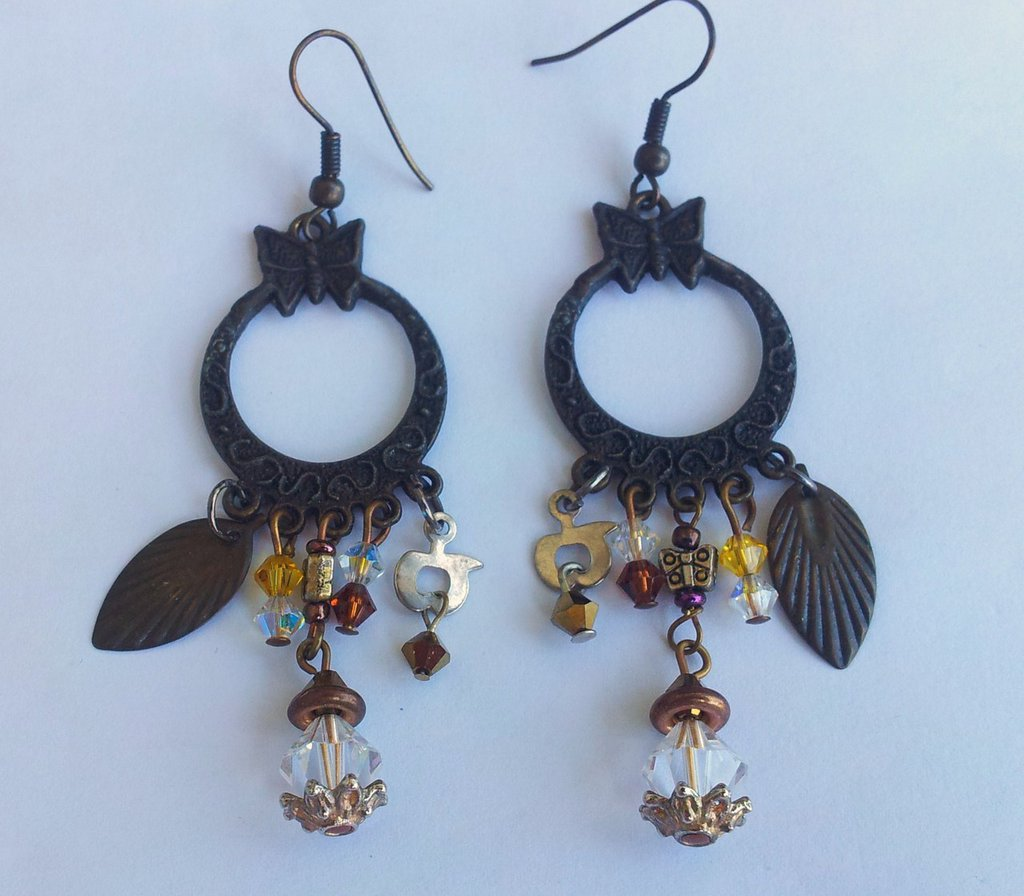 orecchini bruniti pendenti