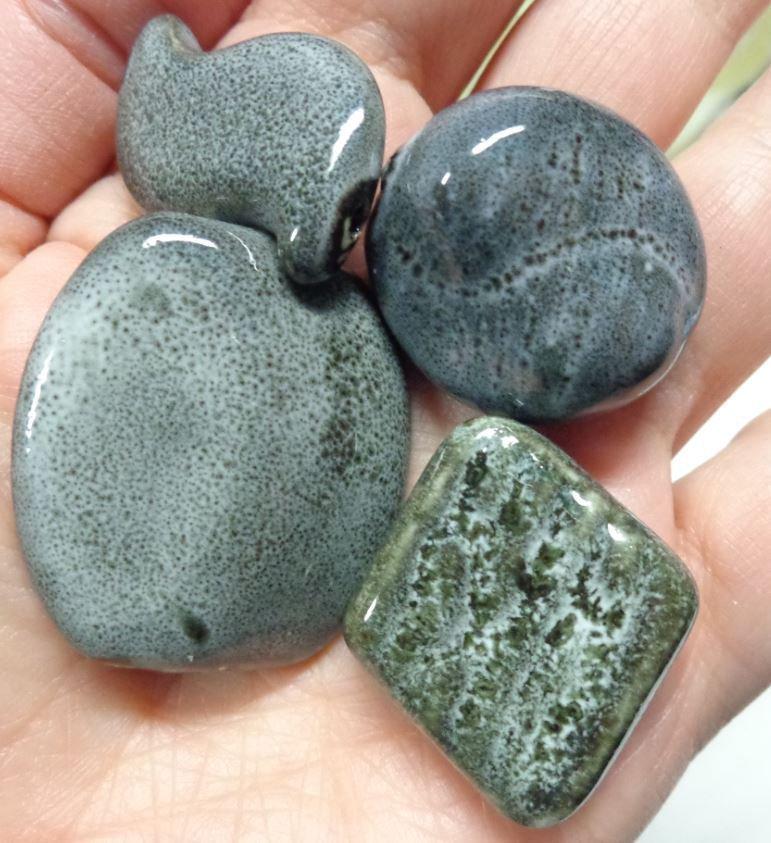 4 Perline in Porcellana GRIGIO