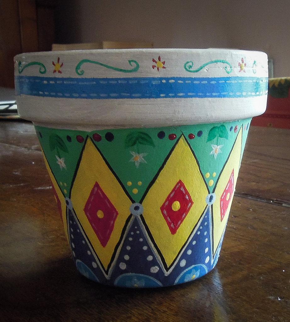 Vaso di terracotta dipinto a mano per la casa e per te - Decorare vasi terracotta ...