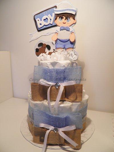 Torta (x20) pannolini con decorazione in gomma crepla