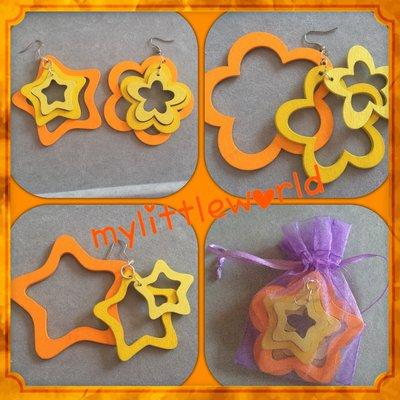 Orecchini pendenti in legno a forma di stella e fiore di colore giallo-arancione
