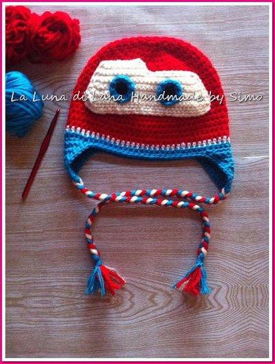 Cappellino uncinetto per  bambino Saetta Mac Queen