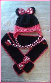 Cappello e sciarpa uncinetto per neonata o bambina ispirato a Minnie