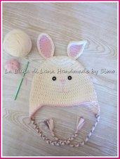 Cappello uncinetto per bimbo o bimba a forma di coniglietto