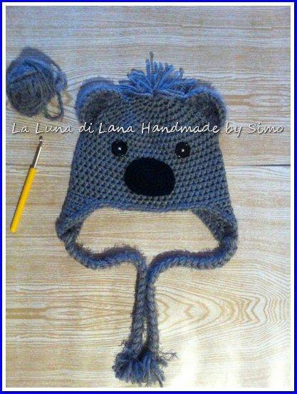 Cappellino a uncinetto per bambino o bambina a forma di orsetto koala