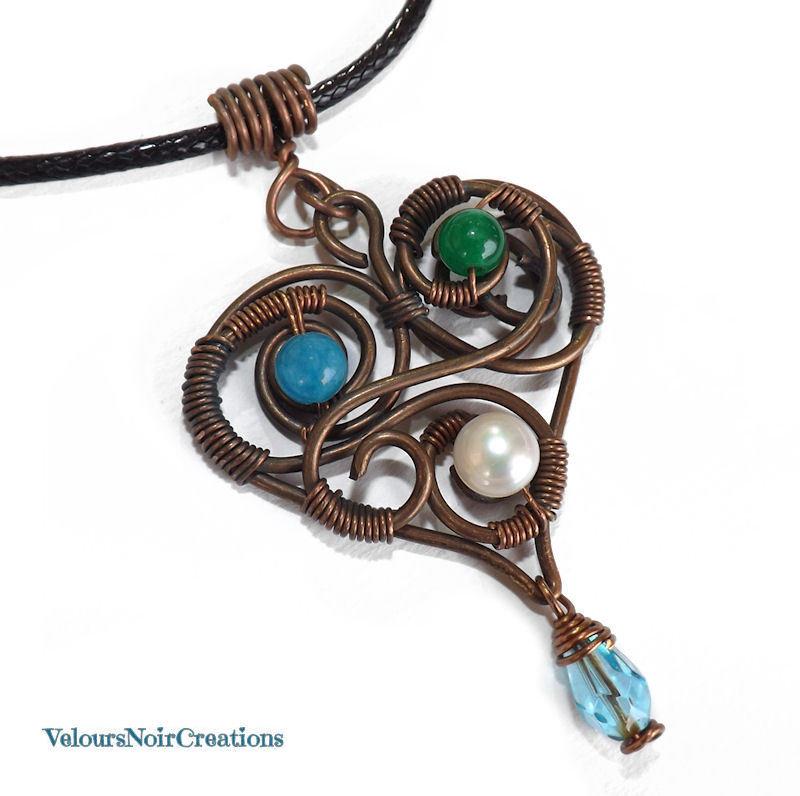 Collana cuore in rame anticato pietre e perla vintage