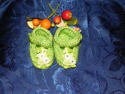 SCARPETTE SCARPINE bimba FATTE A MANO misto lana verde