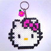 Portachiavi bimba con Hello Kitty in hama beads