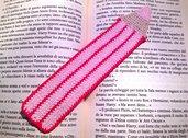 Segnalibro matita rosa fatto a mano all'uncinetto per amanti dei libri o per la scuola