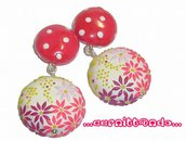 Orecchini Flowers and Polka dots pink