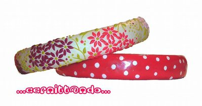 Coppia di bangles Flowers and Polka Dots pink