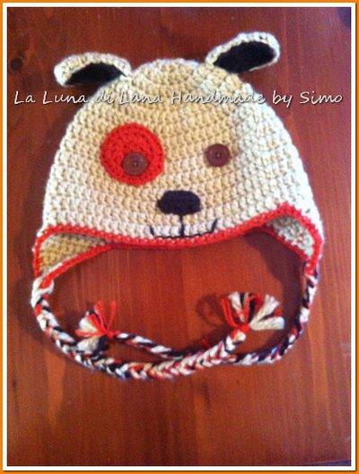 Cappellino a uncinetto per bambino o bambina a forma di cagnolino