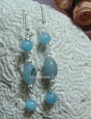 Orecchini pendenti in agata azzurra