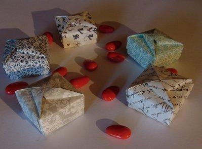 Set 5 scatoline origami porta confetti, bijoux, per feste ed eventi