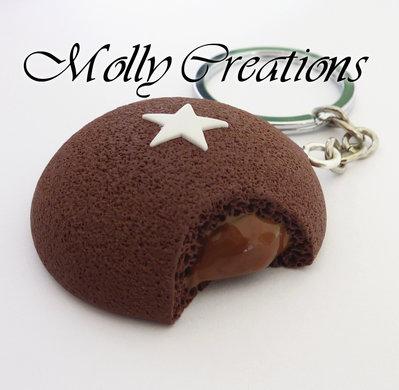Portachiavi Mooncake Pan di Stelle in Fimo