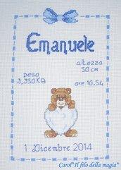 Quadretto nascita - fiocco nascita - ORSETTO CUORICINO BIMBO -punto croce- B50