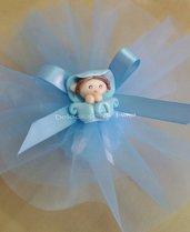 1 sacchettino confetti doppio tulle neutro e folletto azzurro o rosa realizzato in fimo per battesimo o comunione bimbo bimba