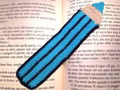 Segnalibro matita bluette fatta a mano all'uncinetto per amanti dei libri o per la scuola
