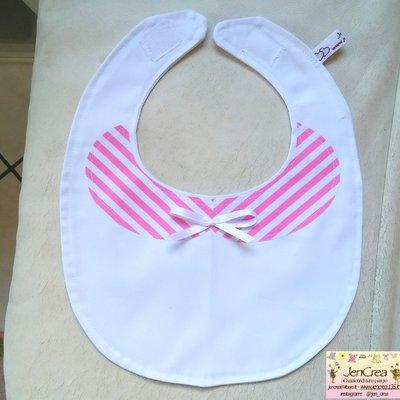 1 bavaglino bambina righe bianco /rosa