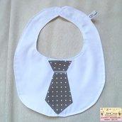 1 bavaglino cravatta marrone pois bianchi
