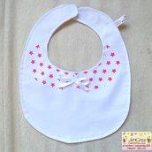 1 bavaglino colletto bianco stelline rosa