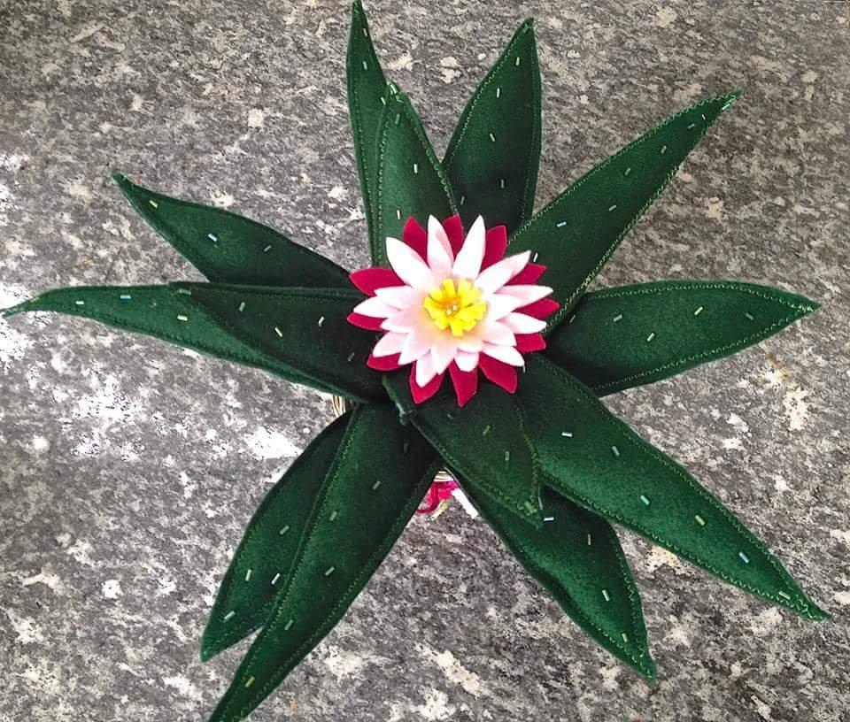 cactus agave in feltro con fiore fucsia e rosa