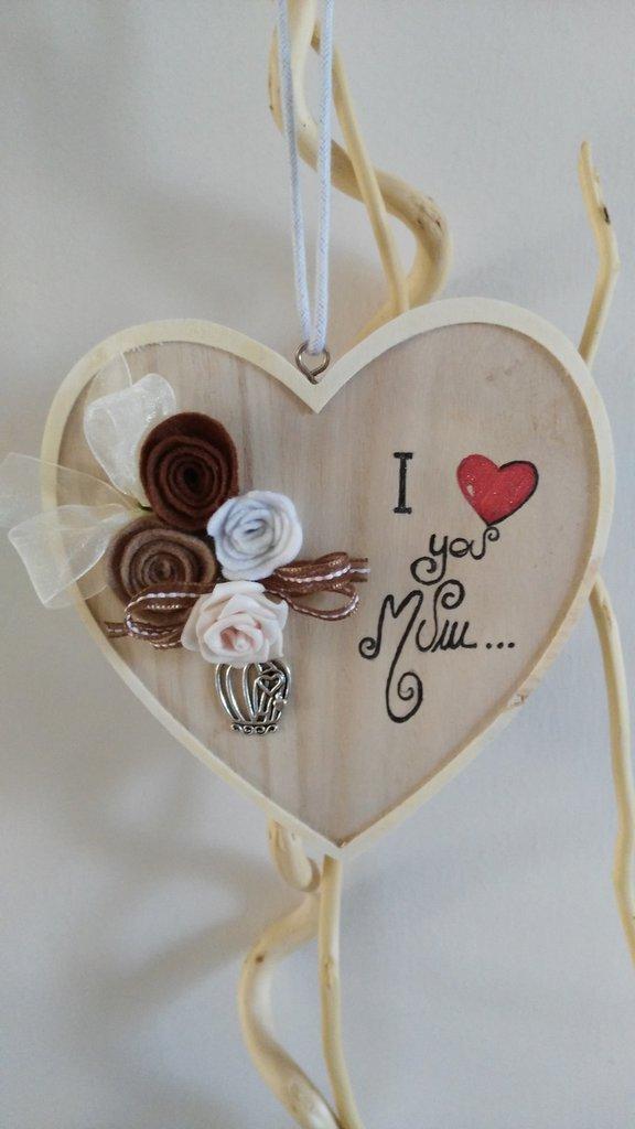 festa della mamma cuore shabby chic in legno e pannolenci personalizzato