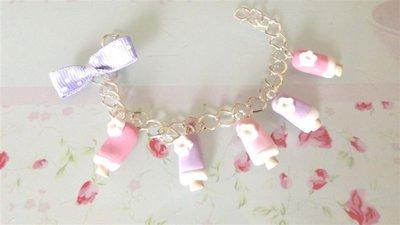 NOVITA FIMO - Braccialetto PRIMAVERA ESTATE - con GELATINI lilla e rosa  piu fiocco