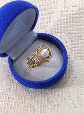 Anello wire in ottone e perla naturale