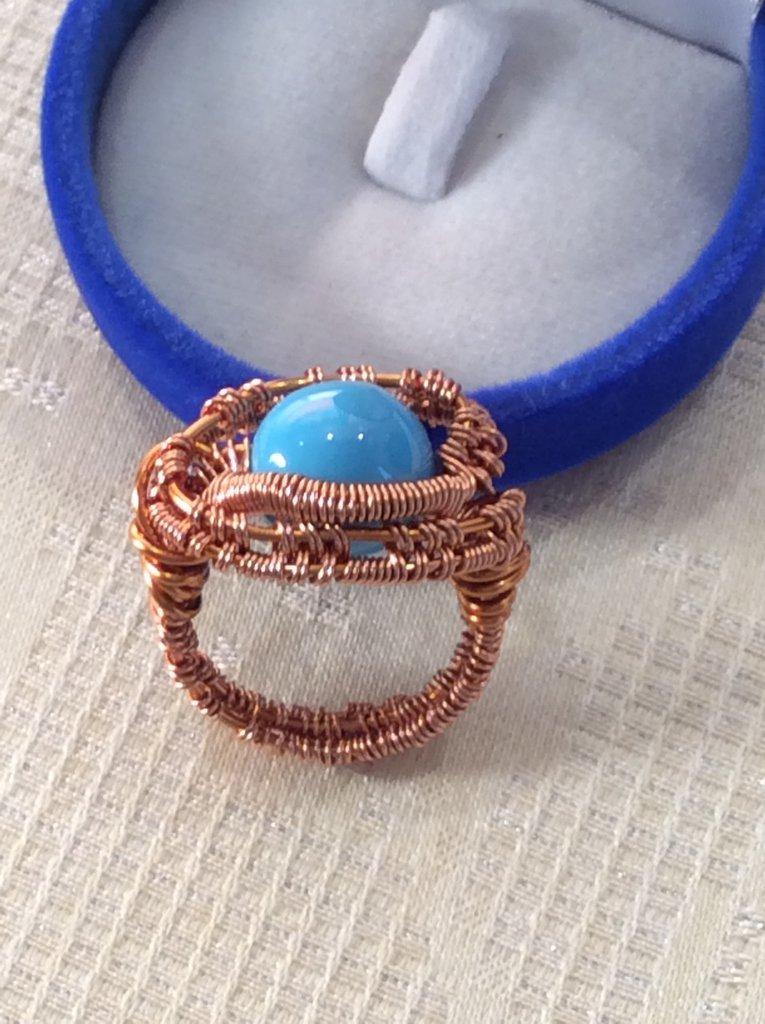 Anello wire rame e perla turchese