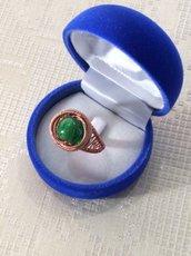 Anello wire con perla verde