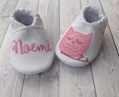 Scarpine Gufetto in ecopelle personalizzate con nome - Bambina 3-6 mesi