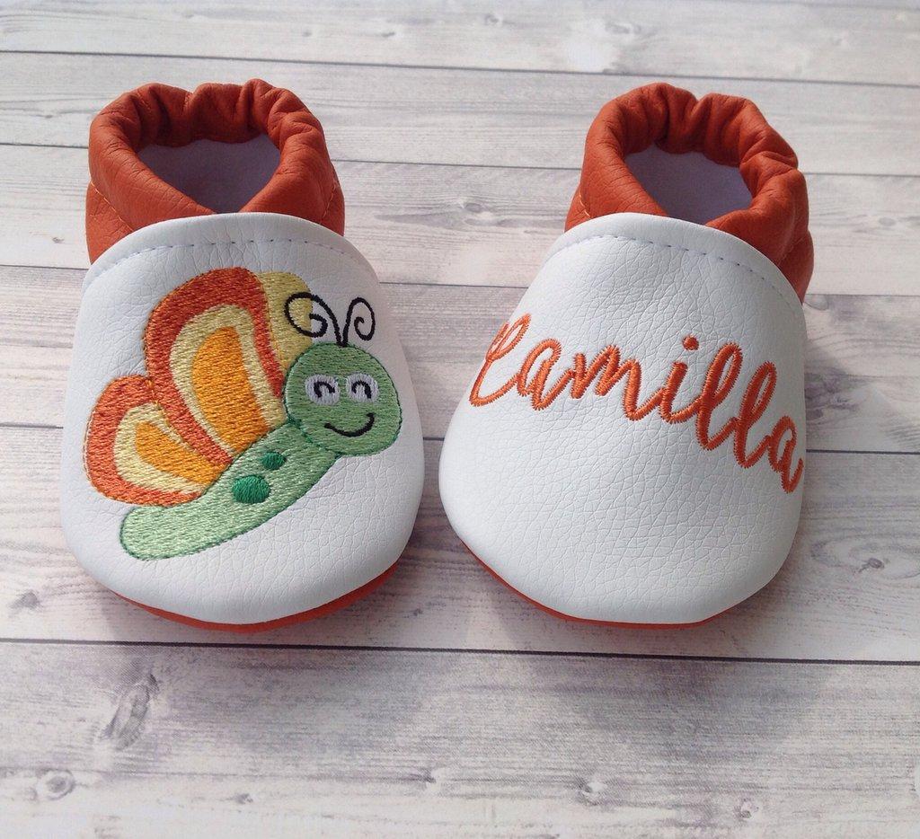 Scarpine Farfalla in ecopelle personalizzate con nome - Bambina 3-6 mesi