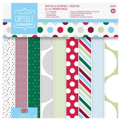 Blocco di carta 15x15 cm - Spots & Stripes Festive
