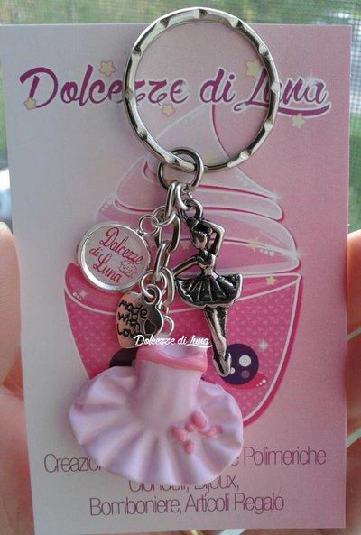 1 portachiavi con vestitino - tutù  rosa, In fimo, fatti a mano idea regalo, rivendita o gadget