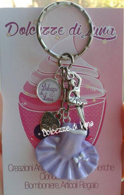 1 portachiavi con vestitino - tutù  lilla, In fimo, fatti a mano idea regalo, rivendita o gadget