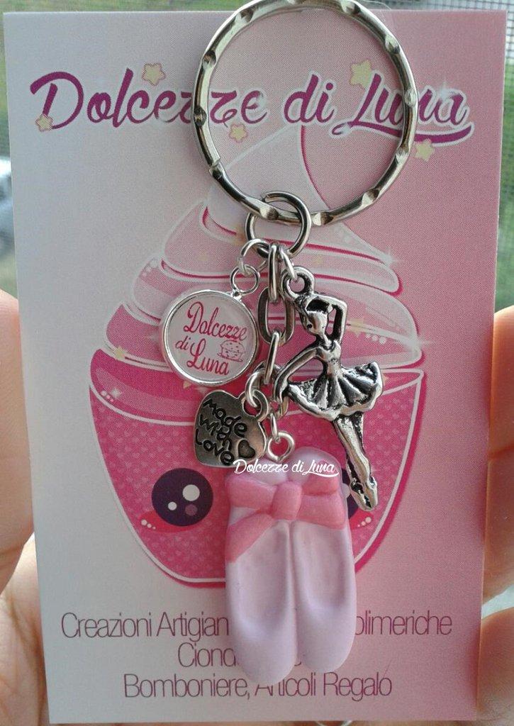 1 portachiavi con punte - scarpette da danza rosa, In fimo, fatti a mano idea regalo, rivendita o gadget