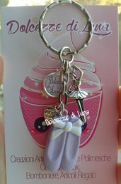 1 portachiavi con punte - scarpette da danza lilla, In fimo, fatti a mano idea regalo, rivendita o gadget