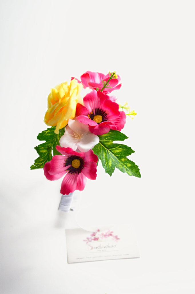 Cerchietto frontino corona coroncina cerchiello fiori floreale estate rosa giallo headband hairband hair bow hair clips