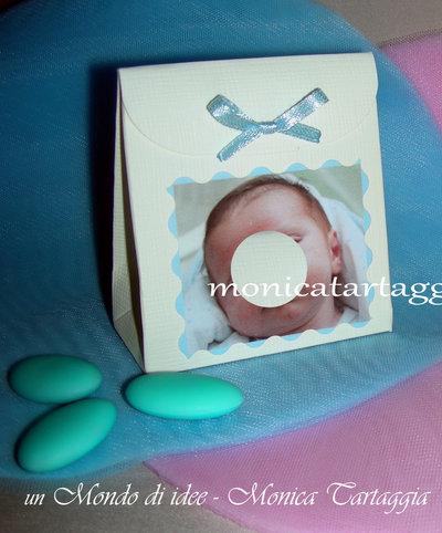scatolina portaconfetti con foto maschietto