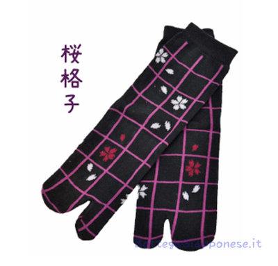 Tabi calze sakura quadri infradito 22-25cm