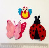 coccinella, farfalla e gufo. 3 animaletti come fermacapelli, come spilla o come volete voi!