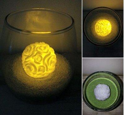 Candela in cera a led - mini palla a rose - Wax luminary candle