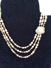Collana perle multicolor a tre fili