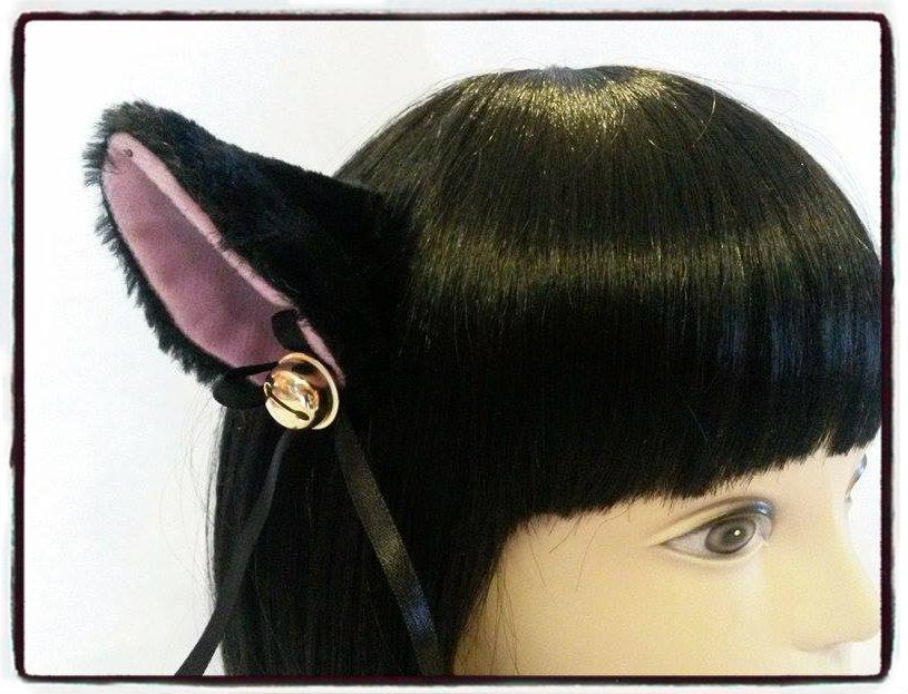 Coppia di orecchie da gatto nere con clip - Neko cosplay