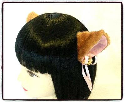 Coppia di orecchie da gatto marroni con clip - Neko cosplay