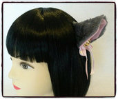 Coppia di orecchie da gatto grigie con clip - Neko cosplay