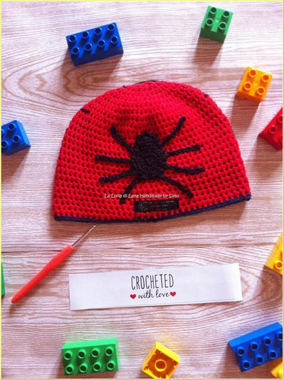 Cappellino a uncinetto per bambino ispirato a Uomo Ragno - Bambini ... 9546fece26bf